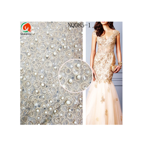 NQ085-3 gold African french lace fabric tulle lace with round circle and beads for making bridal wedding dress