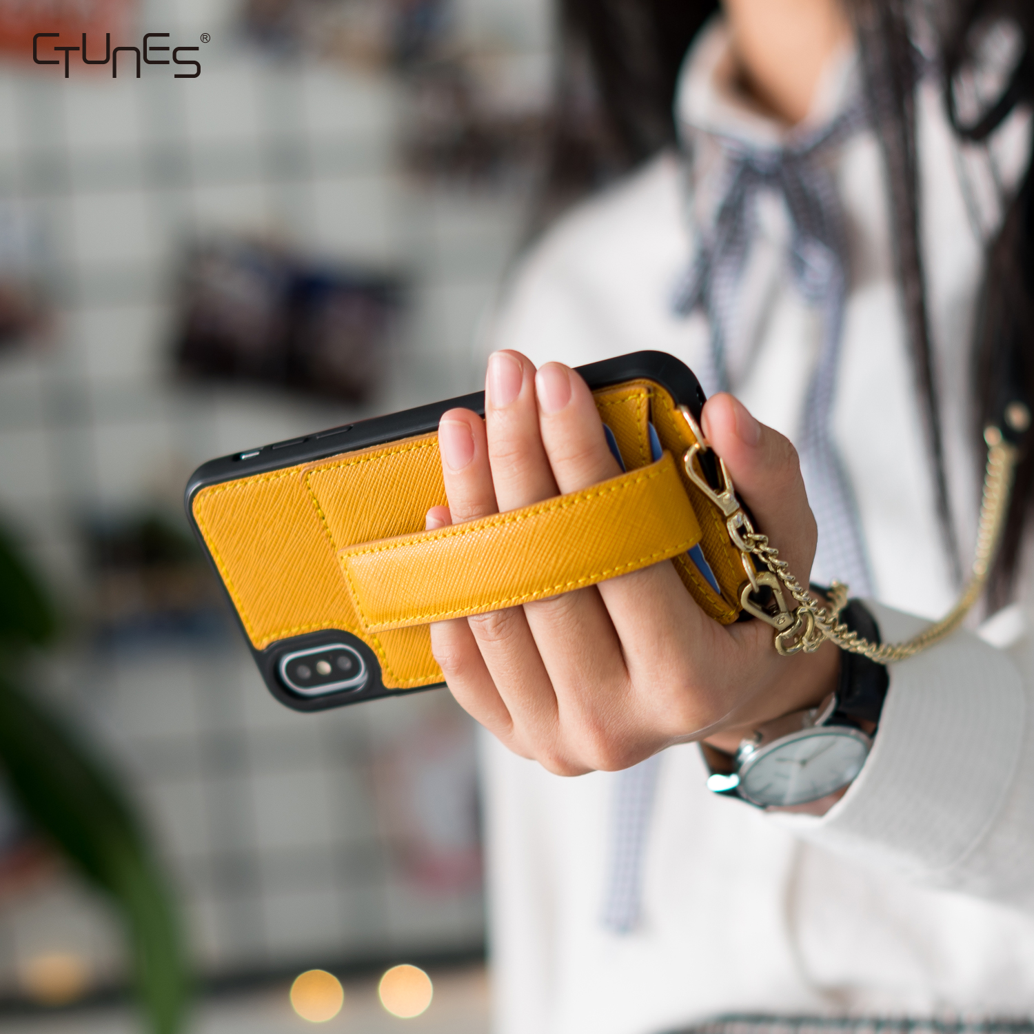 Wallet Case with Crossbody Chain Credit Card Holder Slot Handbag Purse Wrist Strap Case Cover for Apple iPhone X Xs