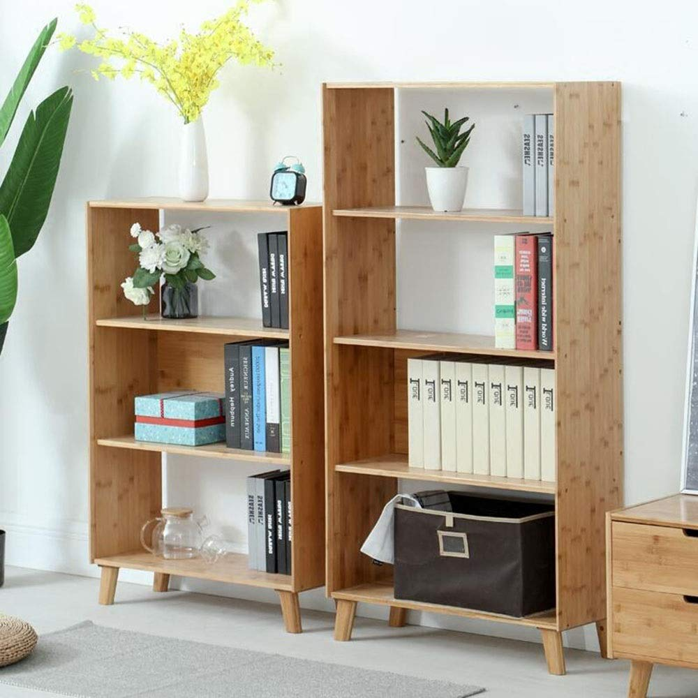 Bookcase Bamboo Wall Locker Floor Standing Bookcase DIY Closet Organizers Living Room Bedroom Office