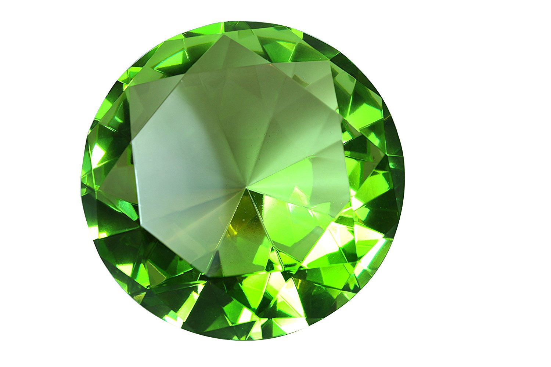 0965d3e245f9a Tripact 100mm Emerald Light Green Crystal Diamond Jewel Paperweight 4 Inch