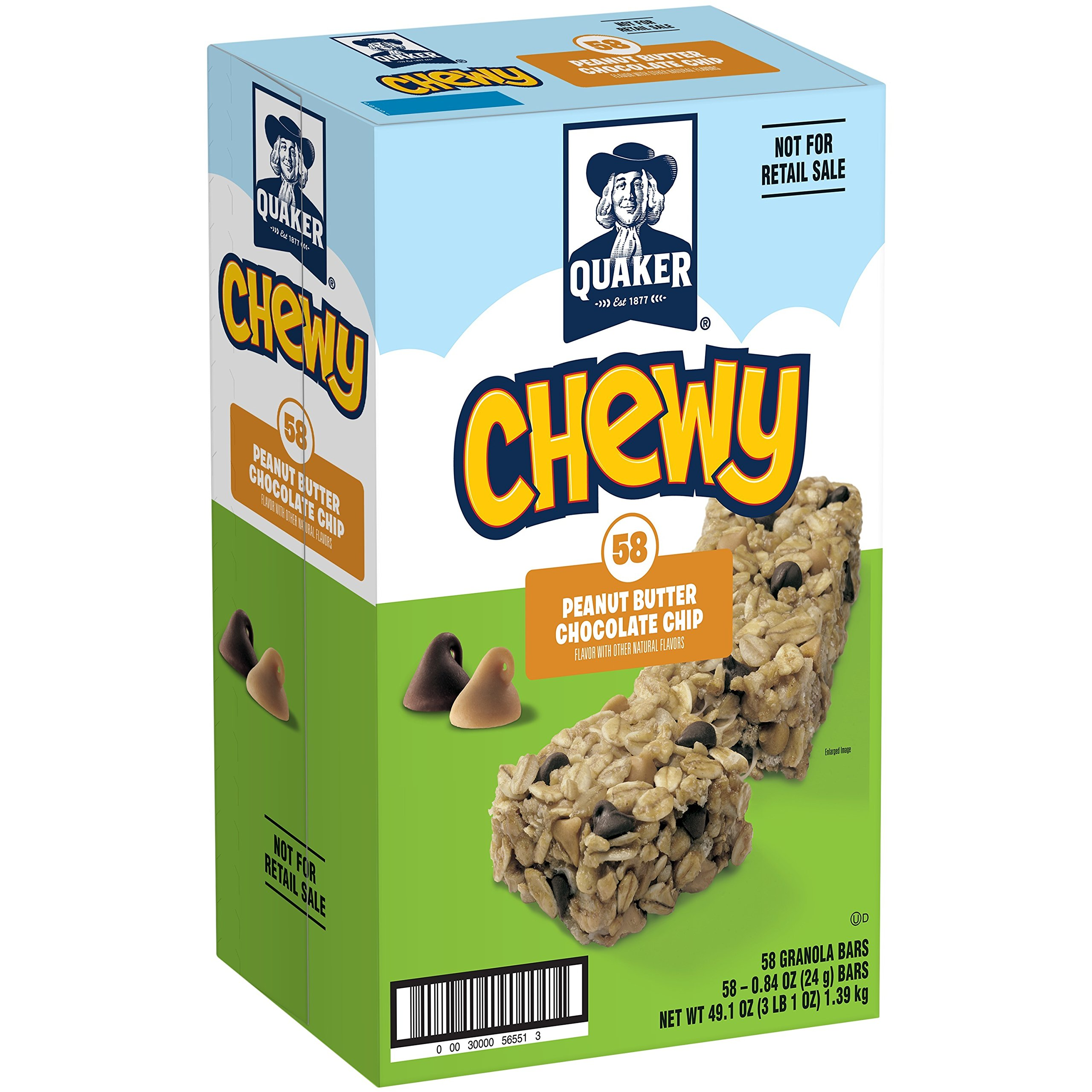 Quaker Chewy Granola Bars, Peanut Butter Chocolate Chip,58 Count,49.1 oz