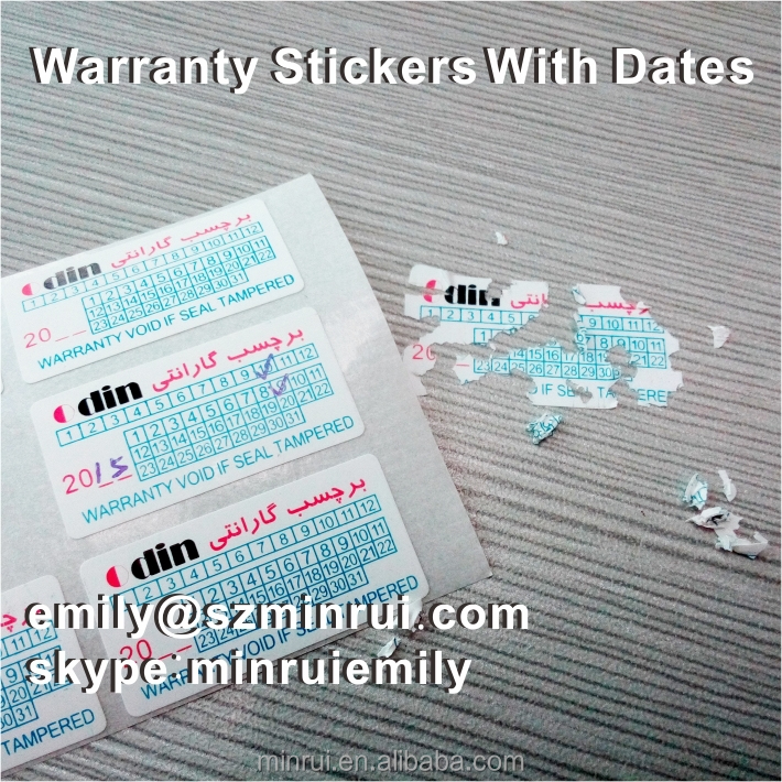 Custom 3 Colors Printed 30x15mm Destructible Warranty Stickers With <strong>Dates</strong> Months And Years, Destructible Warranty Adhesive Label
