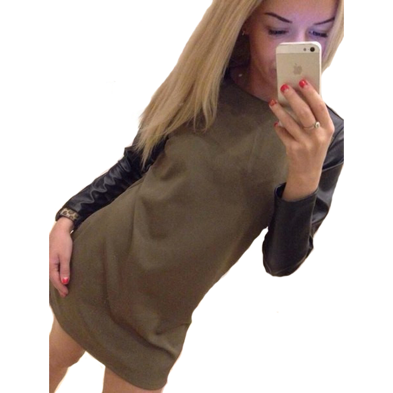 H&Q 2015 New Fashion casual Dress Patchwork O-Neck Women Army Green Blue PU Elegant Long Sleeve Bodycon Dresses 01-259
