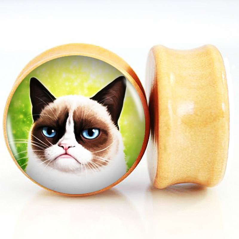 2pcs/Lot Pair of Nature Wood Ear Plugs Fit Ear Gauges Plugs - Grumpy Cat 6MM-25MM 2G-1'' Flesh Tunnels