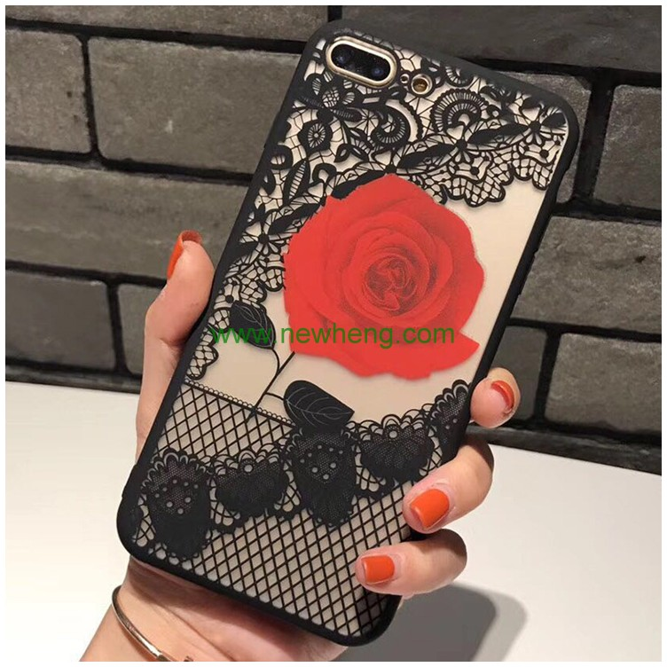 Full Coverage Protective Hollow lace rose flower Phone Case For iPhone 7