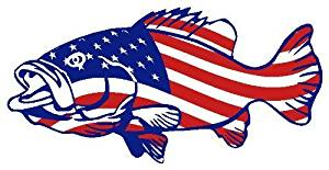 "American Flag Bass USA Patriotic Fishing (2 pack) - Full Color Printed - (size: 4"" color: RED/WHITE/BLUE) - for Windows, Walls, Bumpers, Laptop, Lockers, etc."