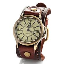 New fashion big wristwatches men women luxury brand retro style quartz watch leather strap watches W1743