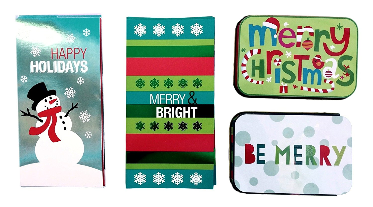 Christmas Money and Gift Card Tin Boxes, Merry Bright Christmas