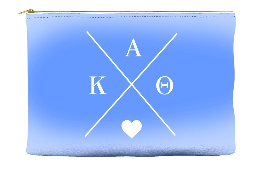 Kappa Alpha Theta Hipster Logo Purple Cosmetic Accessory Pouch Bag for Makeup Jewelry & other Essentials