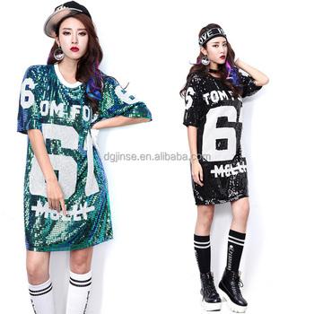 Boho девочек уличный стиль танца Клубная одежда хип-хоп блестками  танцевальная одежда Блузка Топ 228f26695f3