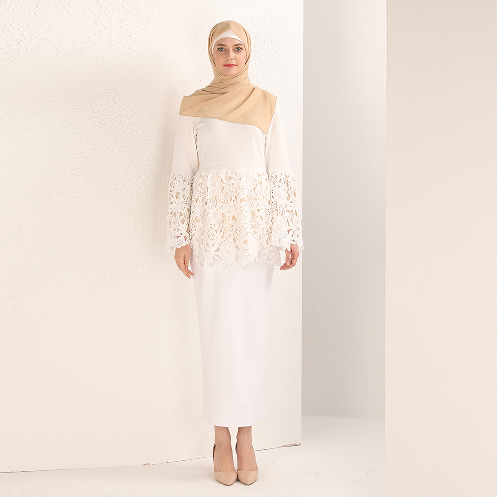 Latest design muslim women tops blouses cotton spandex with lace fashion ladies blouses