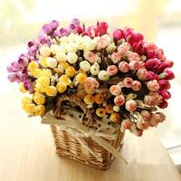 Artificial silk tea bud rose flower bouquet table wedding decoration artificial flowers
