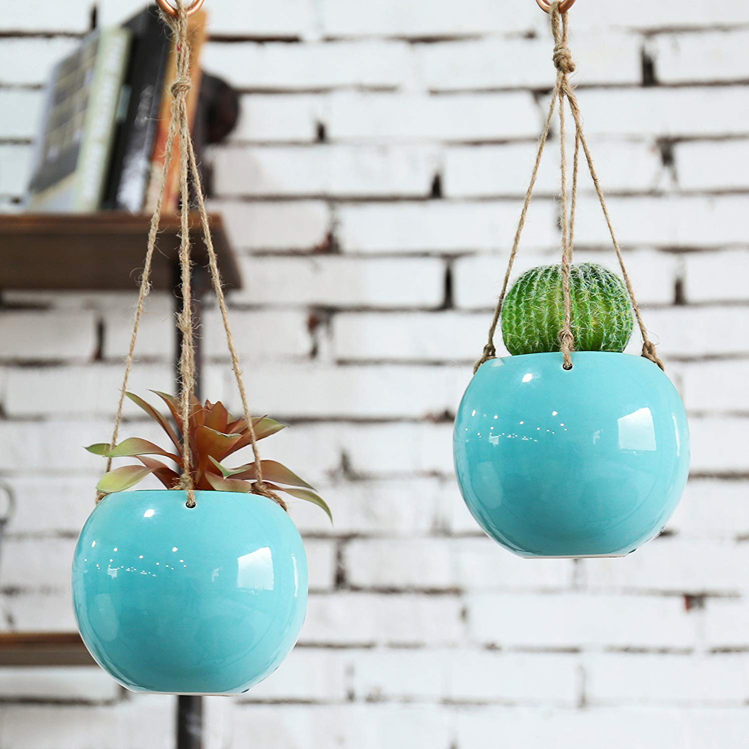 MyGift Set of 2 Aqua Blue Ceramic Hanging Mini Planters with Twine Ropes
