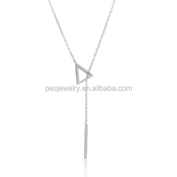 PES Fashion Jewelry! High Polish 18 Inch Chain Triangle Bar Drop Lariat Necklace (PES100-244)
