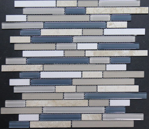 BS222 Decorative white, brown and blues polished and opaque strips tile glass mosaic stone marble for wall backsplash
