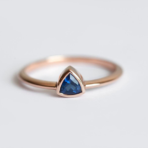 Blue Sapphire Ring Minimalist Gold Charm Design Rings