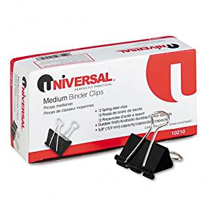 "Universal : Medium Binder Clips, Steel Wire, 5/8"" Capacity, 1-1/4"" Wide, Black/Silver, Dz -:- Sold as 2 Packs of - 12 - / - Total of 24 Each"