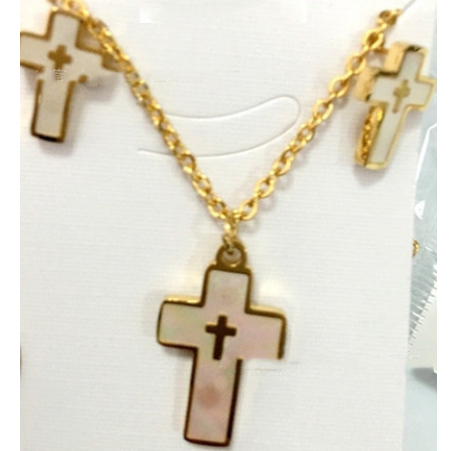 New Stainless Steel Gold Rose Plated Cross Charm Inlay Shell Pendants  Necklaces Plus Earrings Jewelry Sets