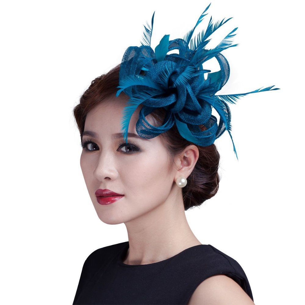 Get Quotations · women teal loop Sinamay Hair Fascinators with  Feathers-hair clip fascinator headband for races 77be4dbf781