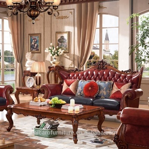 Luxury french provincial solid wood leather sofa set living room furniture