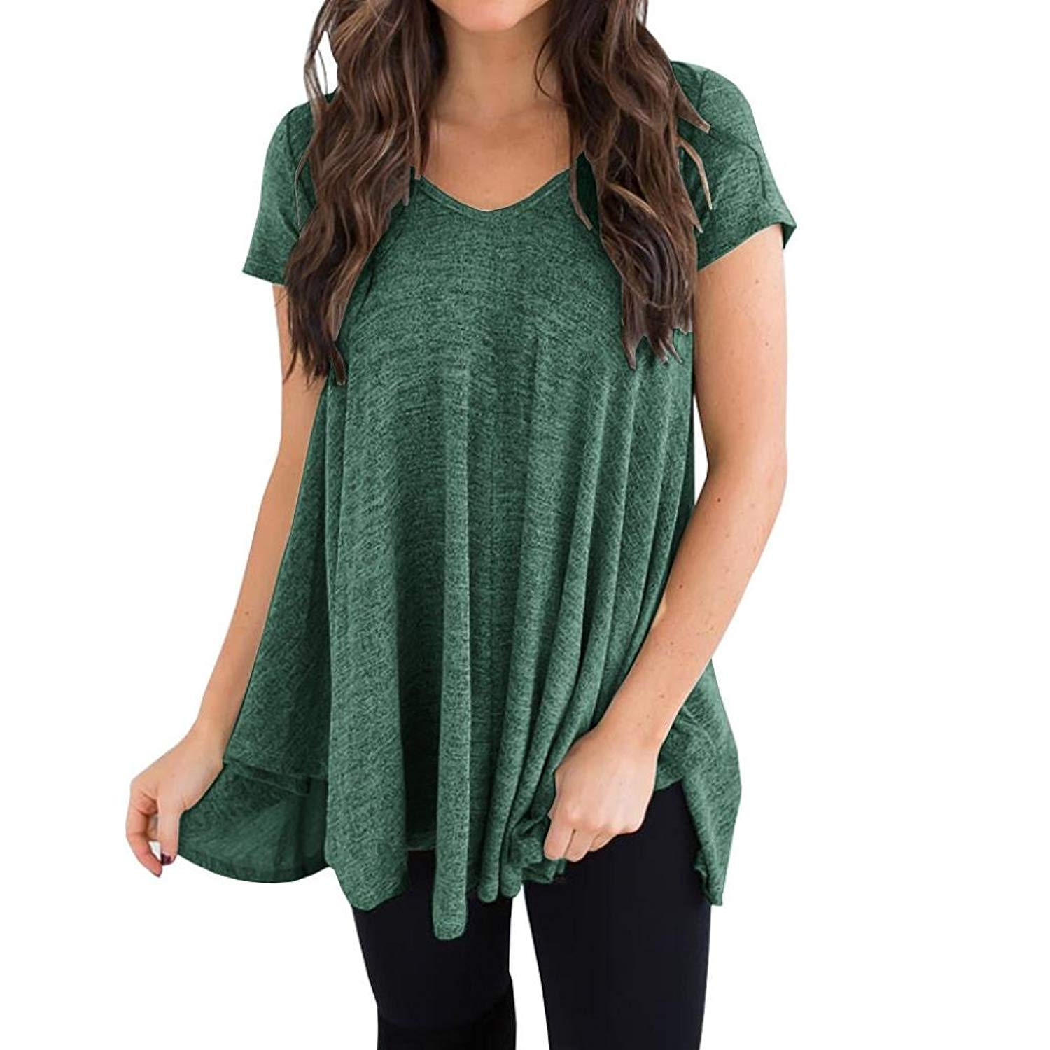 Clearance! Plus Size Tops for Women, Tootu Summer Short Sleeve V-Neck Irregular Hem Loose Casual Tee T-Shirt