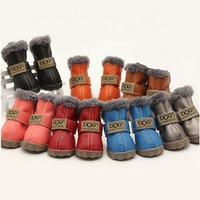 PU Leather Nonslip Pet Booties Winter Snow Dog Shoes Wholesale for Teacup Chihuahua Yorkie