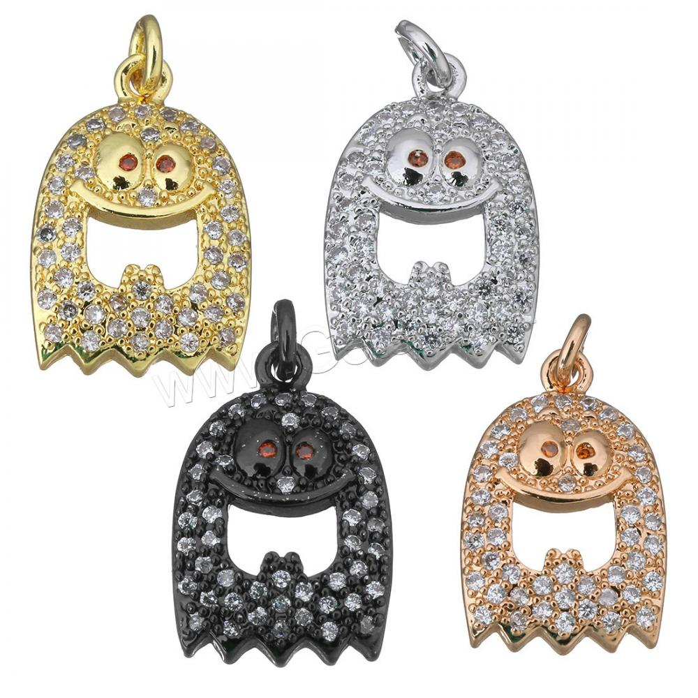 Happy Ghost charm pendant Micro Pave CZ charms in gold color wholesale jewelry