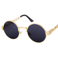 Vintage Retro Gothic Steampunk Mirror Sunglasses Gold and Black Round Circle Men custom Sunglasses UV400