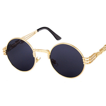 Vintage Retro Gothic Steampunk Mirror Sunglasses Gold and Black Round Circle Men custom Sunglasss UV400