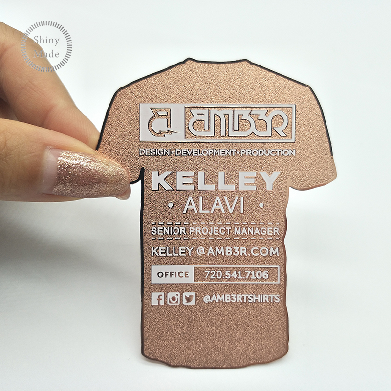 Factory Direct Sale Free <strong>Design</strong> Rose Gold Metal Business Card Printing