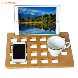 Bamboo laptop tray stand with tablet and phone holder