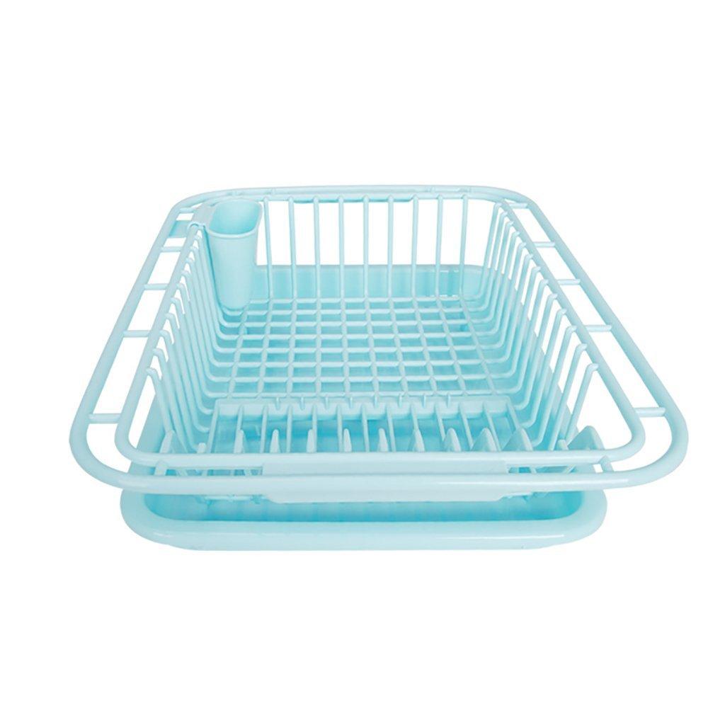 YONGLIANG Kitchen Supplies Kitchen Plastic Bowl Rack Drain Basket Storage Racks Dishes Lek Dish Rack (Color : Blue)