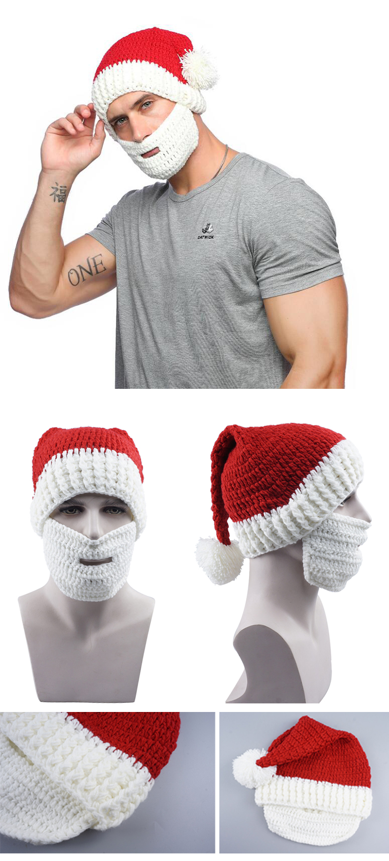 Winter Crocheted Men's Santa Claus Father Xmas Hats With Colourful Beard Handmade Christmas Present Party Knitted skull Beanies