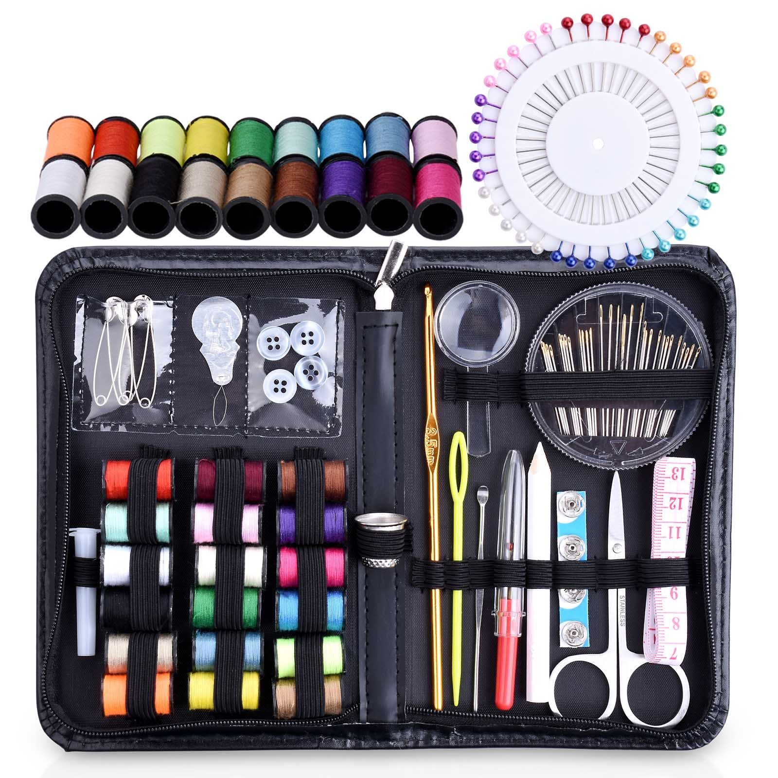 Tensun Travel Sewing Kit for Home, Office, Camping & Emergency, Sewing Supplies Accessories for Kids, Girls, Beginners & Adults - Filled with Quality Notions Thread, Scissors & Needles