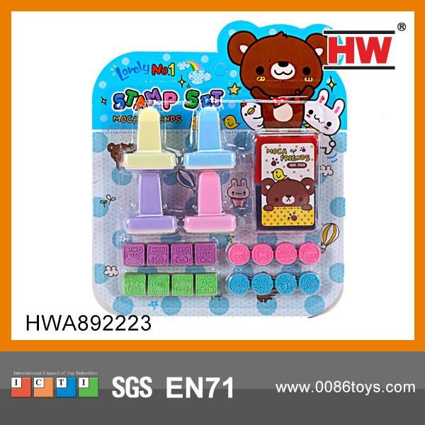 Cartoon 5PCS Stamp Rubber For Kids Stationery Gift Set