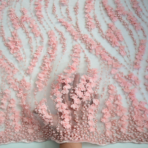 Pink handmade heavy bridal beaded lace fabric french net lace with crystal 2017 new product tulle lace HY0600-11 HuaYF