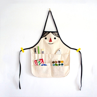 High quality 100% Multifunction cotton cuff kid children kitchen apron with pockets