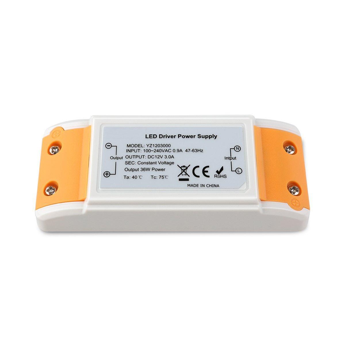 iCreatin LED Transformer Power Supply 3A 12V DC36W ,Constant Voltage for LED Strip Lights and G4, MR11, MR16 LED Light Bulbs (12V3A)