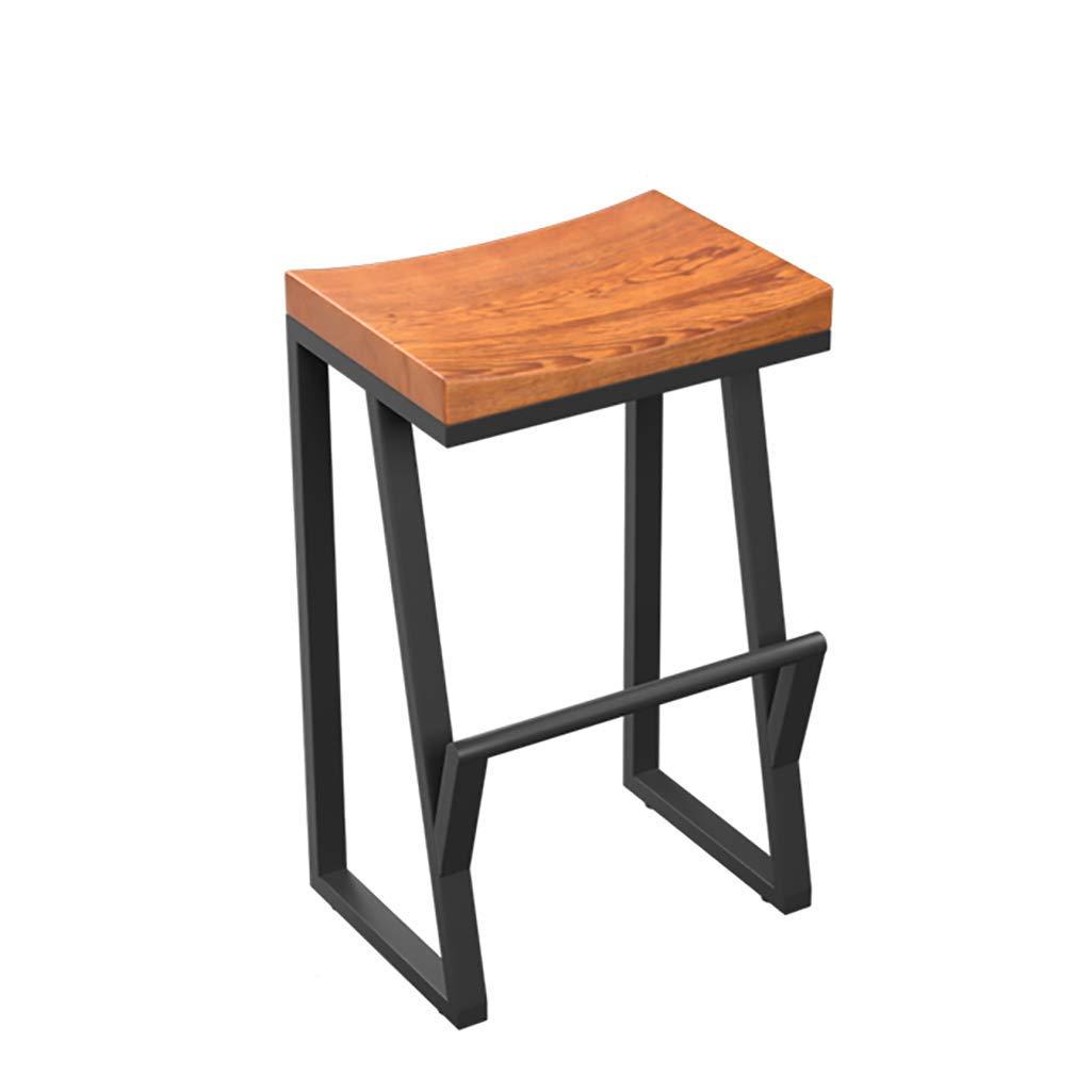 AIDELAI Bar Stool Chair- Retro Bar Chair Iron Bar Chair Solid Wood Bar Stool Creative High Stool Leisure Bar Chair Front Desk Coffee Chair Saddle Seat (Size : 63cm)