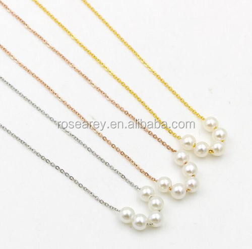 2017 new Korean simple five pearl chain necklace women's rose gold short charm Collarbone chain