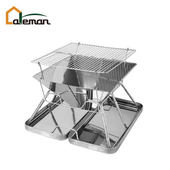 Heightened Style Portable Folding Stainless Steel Braai Brazier Bbq Grill Fire Pit With