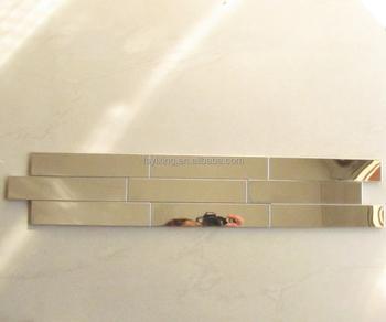 Schon Streifen Goldene Edelstahl Hochglanzpoliert Mosaik U Bahn Fliesen Für Küche  Bad Backsplash Accent Wand Grenze