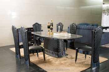 High End Italian Palissandro Blue Marble Dining Table Post Modren Design Full Leather