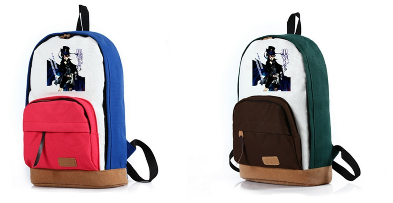 2016 New Cute Anime Black Butler Ciel Sebastian Cosplay Canvas Shoulder  Backpack  b8946662612cf