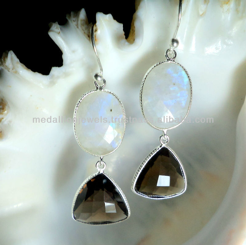 Rainbow Moonstone & Smoky Quartz Trillion Facet Earrings, 925 Solid Sterling Silver Earrings, Designer Dangle Earrings