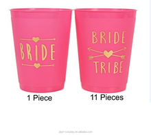 Bride and Bride Tribe Cups Pink - for Bachelorette, Bridal, & Hen Parties
