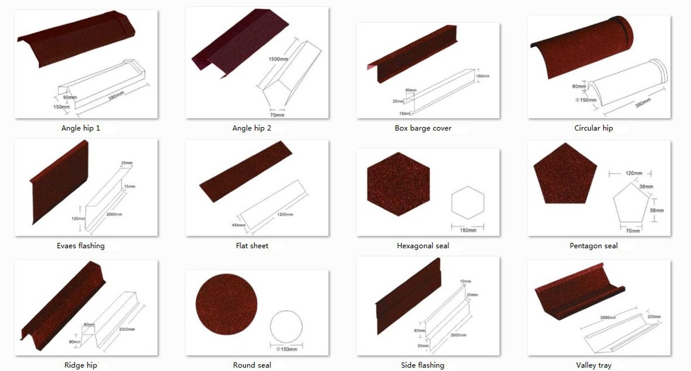 Building Material Stone Coated Metal Roof Accessories