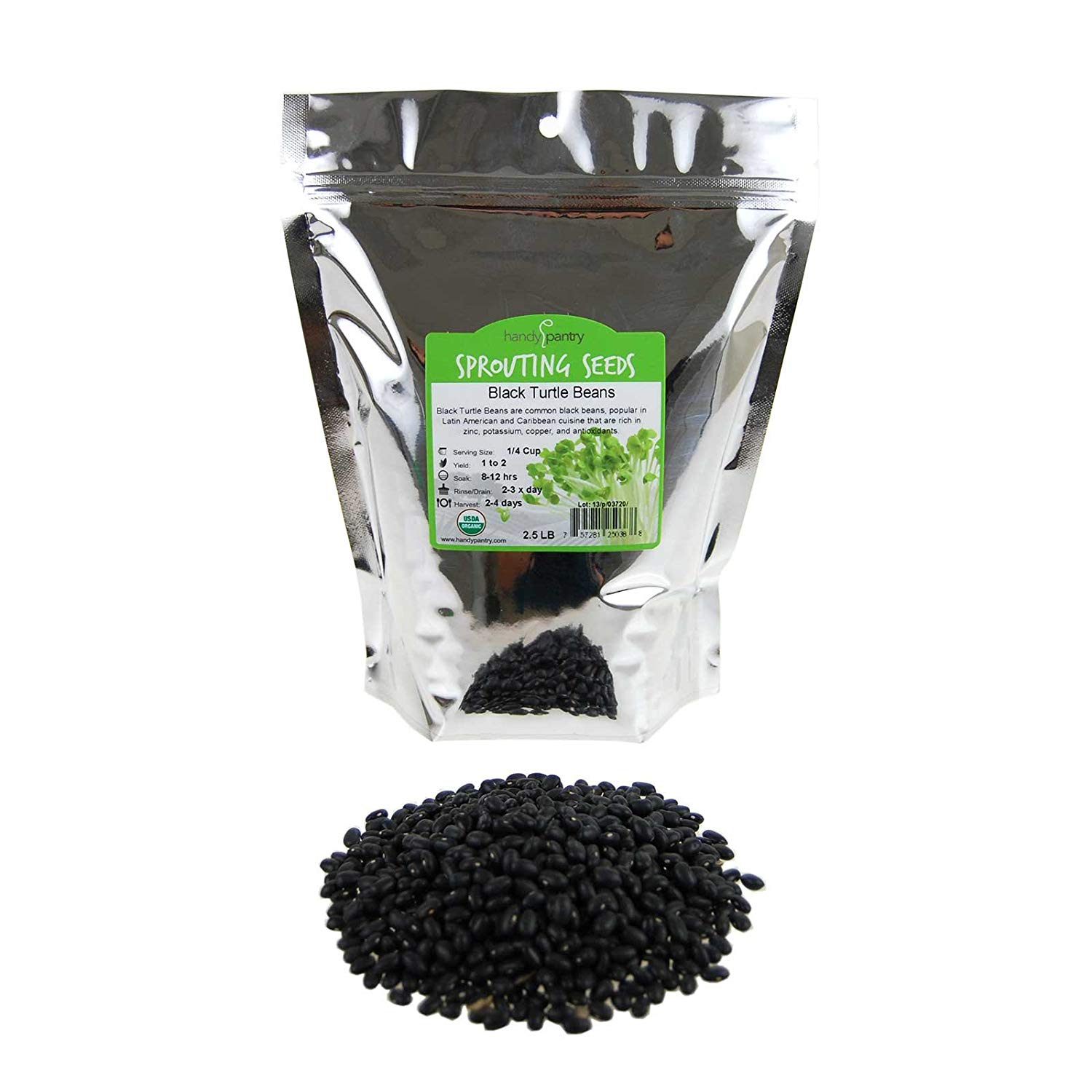 Organic Black Turtle Beans -2.5 Lb- Called Black Bean & Spanish Black Bean - Seed Sprouting Sprouts, Cooking, Food Storage
