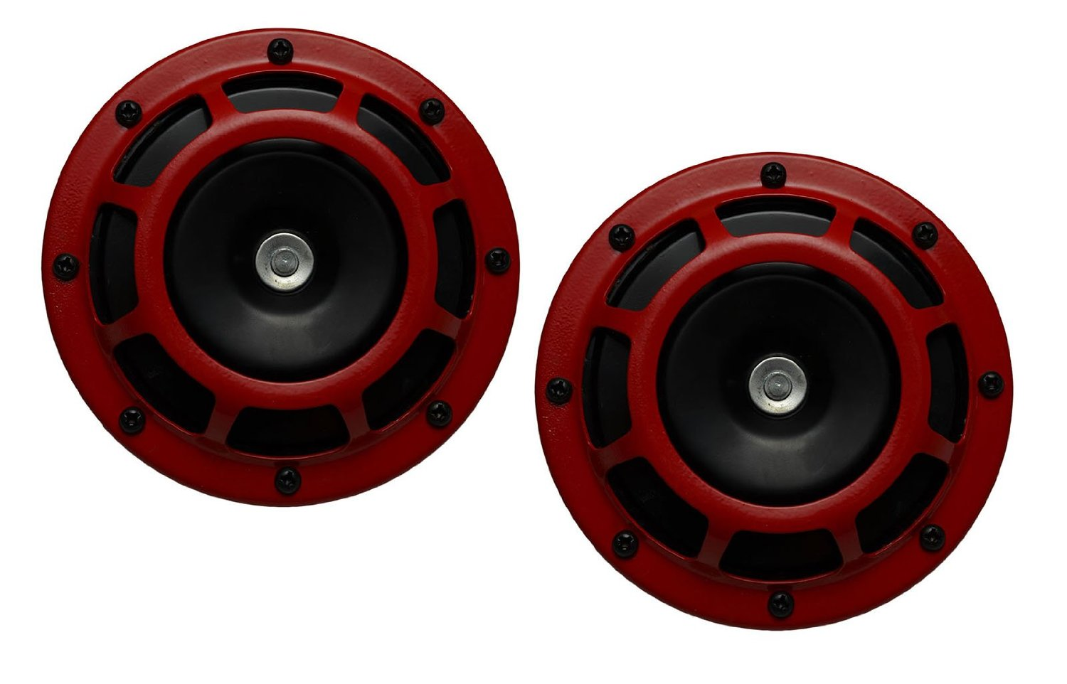 DUAL Super Tone LOUD Blast 139Db Universal Euro RED ROUND HORNS (Quantity 2) High Tone / Low Tone Twin Horn Kit with Bracket Pair Compact – Extremely LOUD for Car Bike Motorcycle Truck for Scion xB tC FR-S xA xD RS AE86 KIA Forte Soul Ford Fiesta Escort Contour
