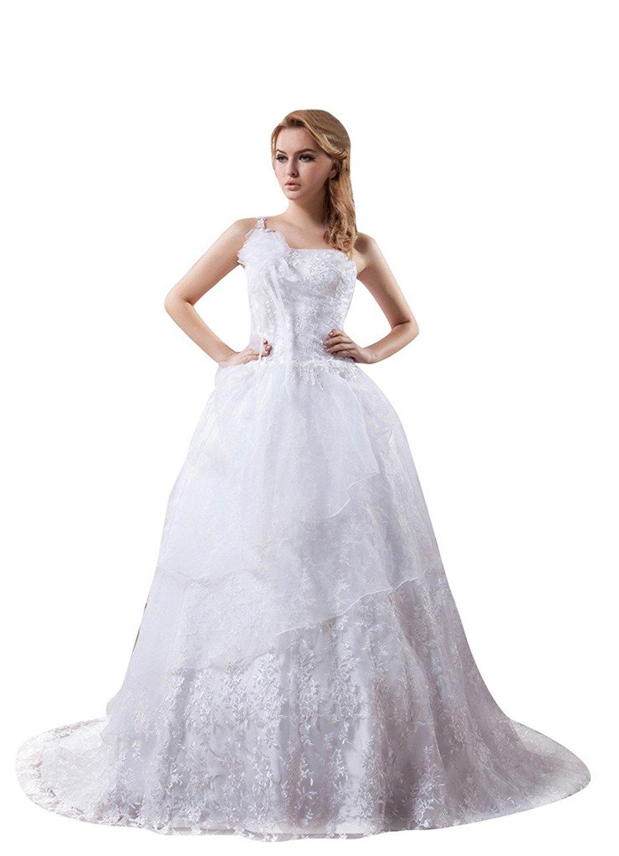CharmBride Women's One Shoulder Sleeveless Bridal Wedding Dress Custom Size